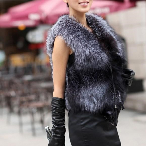 Short Design Female Fox Fur Leather V-Neck Outerwear Vest  (Plus size available)