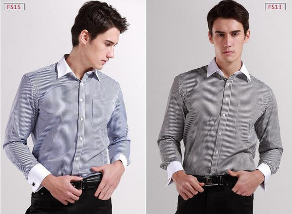New 2015  Long Sleeve 100% Cotton Men Dress Shirts  Shirt+Free Cuff links