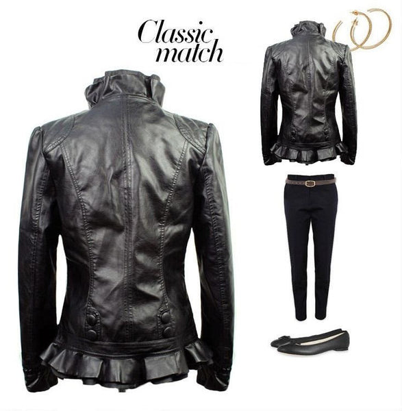 Bikers Queen ! Leather Jacket Lace Short Slim Leather Jacket (NEW ARRIVAL)