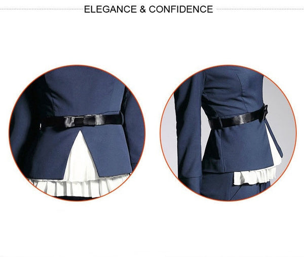 """Elegant Series"" European Style Slim  Blazer Top and Pencil Pants with Bow Belt"