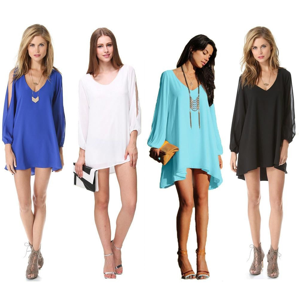 Trendy Sapphire Chiffon Leisure Jersey Her Mini Dress
