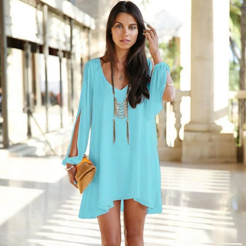 Sexy Slit Sleeve Chiffon V-neck Short Mini Dress