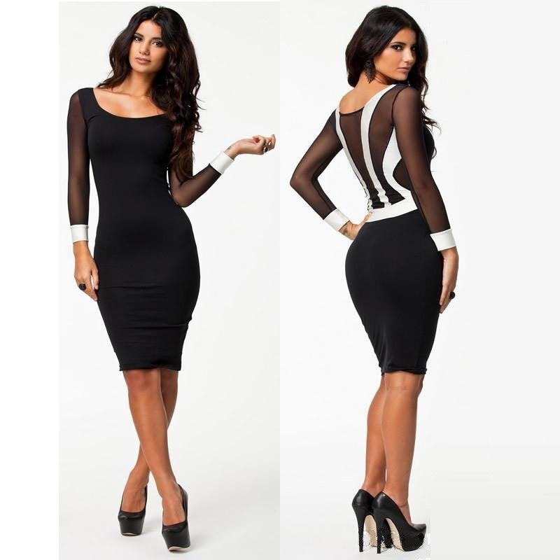 """Chic Series"" Sheath Mesh Strapping Patchwork Long Sleeve Knee Length Dress"