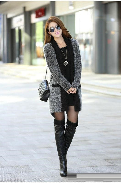 "Long Sleeve Solid Color Mohair Cardigan Sweater Shawl ""Trendy Series"""