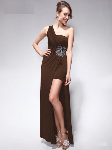 One Shoulder Green Rhinestones beading  Split Long Evening Dress