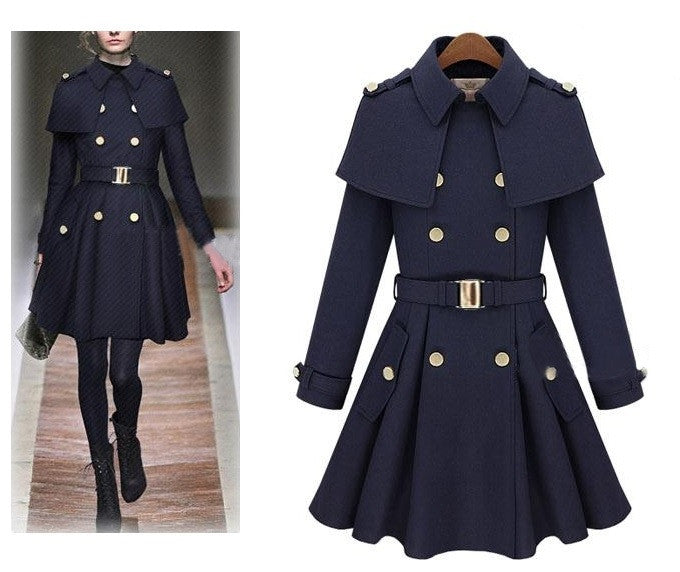 Big'n'Trendy European Style Long Wool Trench Coat