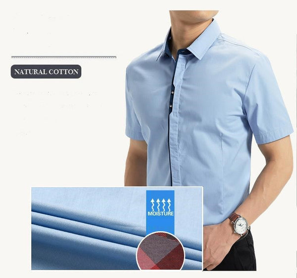 Premium Quality 100% Cotton Short Sleeve Slim Fit Semi Formal Social Shirts