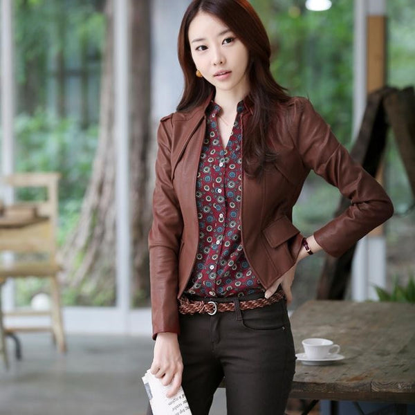 Lady Long Sleeve Standup Collar Slim Fit Short leather Jacket Mercedes series