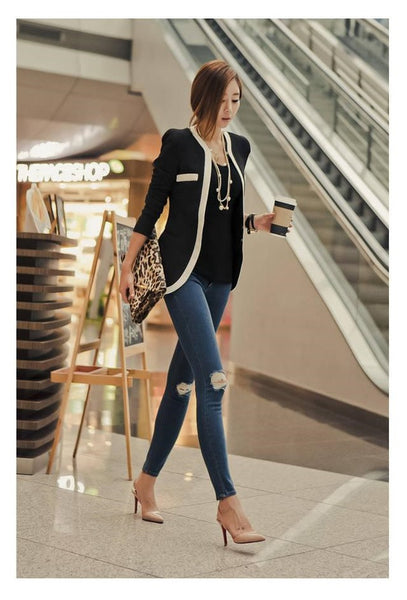 Elegant Black and White  Long Sleeve Casual Suit  Blazers