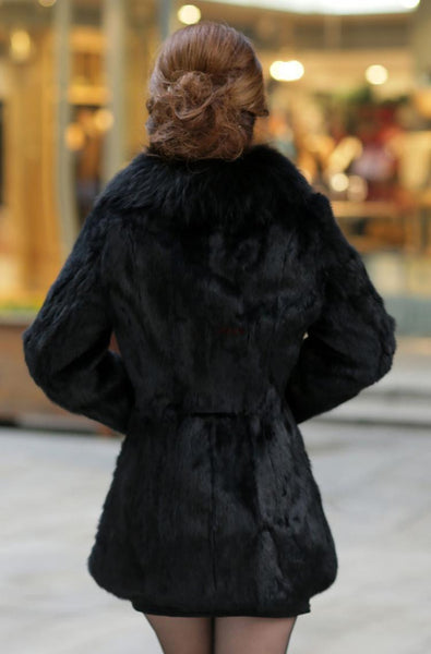 Elegant Lady Winter Warm Faux  Fur Long Thicken Trench Overcoat Jacket (Black)
