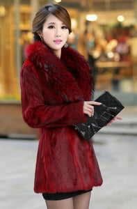 Elegant Lady Winter Warm Faux  Fur Long Thicken Trench Overcoat Jacket