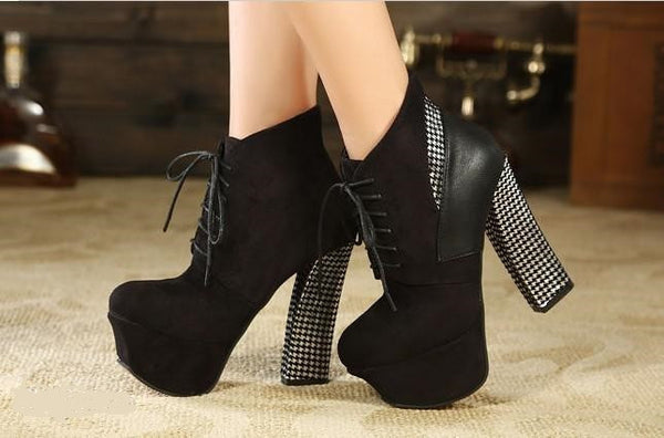 New Arrival Fall and winter Ultra high heel thick heel lace-up boots