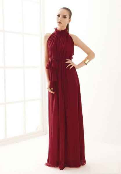 New Fashion Stand Collar Bandage Chiffon Long Maxi Elegant Sleeveless Dress