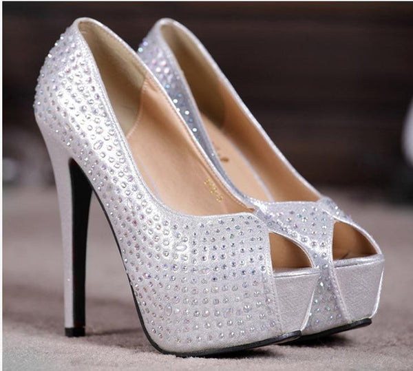 """Elegant Series"" Crystal Studded Peep Toe Stiletto Dress Shoes"