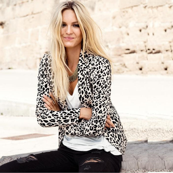 Leopard Print Blazer Cotton classic Casual Lady Jackets Suit