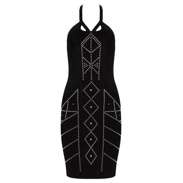 Rayon Women's Bandage Celebrity Dress Multi Bodycon  Rivet Halter Elegant Evening Dress