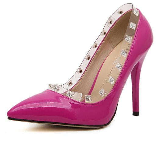 Transparent Crystal Snap thin mouth pointed high-heeled Rhinestone woman shoes