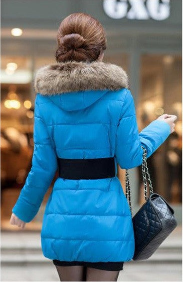 European Hooded Slim Style with Fur Collar Sashes Coat