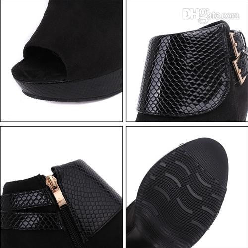 Snakeskin buckles Fish mouth high-heeled shoe (New Arrival)