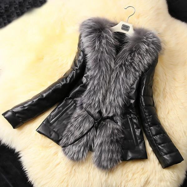 Warm Fur Collar short Leather Jacket Nichole series