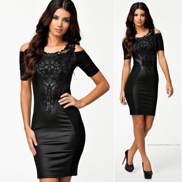 """Trendy Series"" Embroidery Elegant Black Leather Sheath Look Dress"