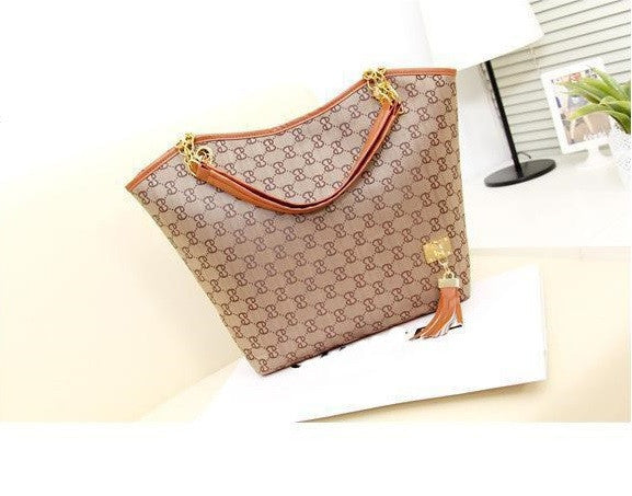 "Silt Pocket Shoulder Bag PU Leather Canvas Handbags ""Impression Series"""