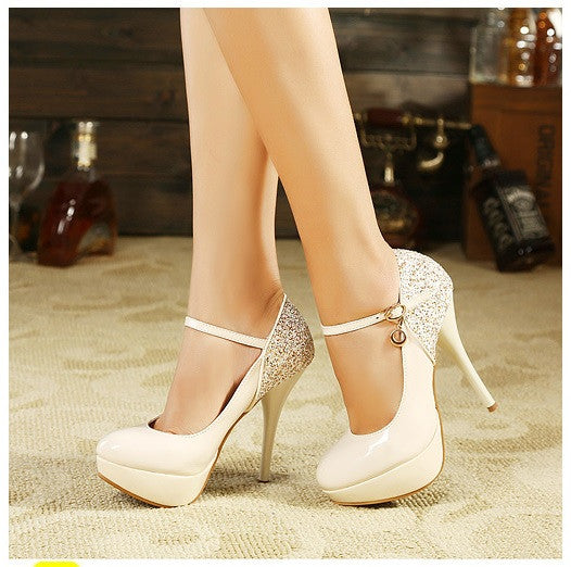 Sequined Straps Korean Princess Heel Shoes