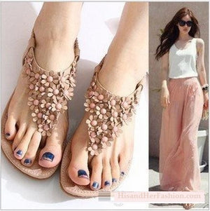 New Arrival  Flat Sandals With Flower Top Beading Strip Shoes