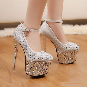 Waterproof diamond Silver 16 cm High Heel Shoes