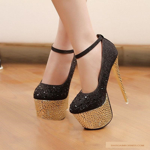 Waterproof diamond Silver 16 cm High Heel Shoes ( New Collection 2015 )