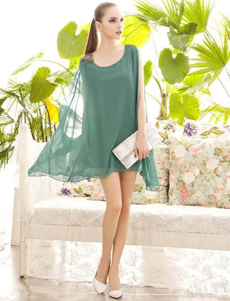 Beads Shoulder Solid Color Chiffon Round Neck Loose Sleeveless Irregular Hem  Dr