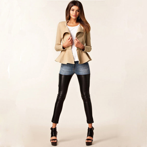 Elegant Oblique Zipper Peplum Long-sleeve Waist Length Jackets Slim Round Collar Blazer