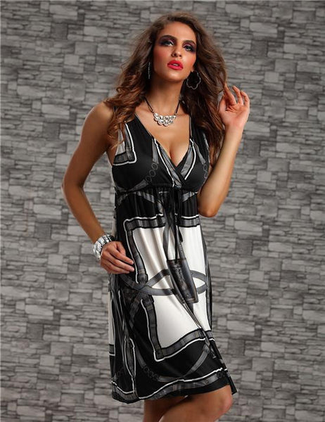 """Mod Series"" Bohemain Print Deep V Neck Modern Dress ."