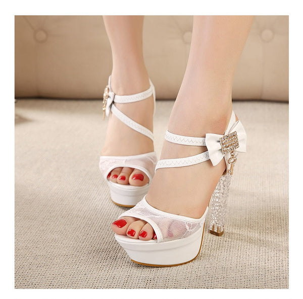 Lace  Rhinestone Bow Crystal Heels Platform Dress Shoe (New Arrival 2015)