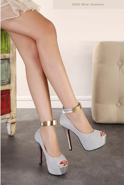 """Elegant Series"" Ankle Strap High Heels platform pumps  Sandals"