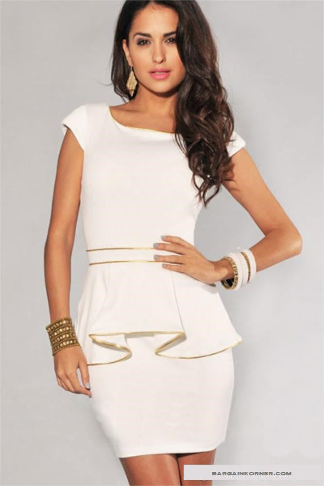New Design Elegant Black and White Hip Panel Peplum Casual Strapping Dress