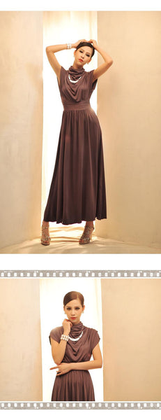 Cotton Blended Sleeveless Ankle Length Slim Solid Color Maxi Dress