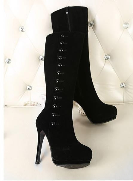 New Fashion High heels with button winter red knee high long boots (Black)
