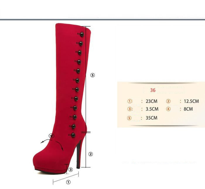 New Fashion High Heels With Button Winter Red Knee High Long Boots