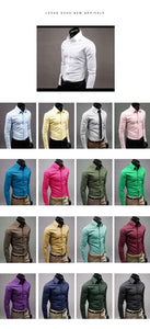 Men Dress Shirt , 100 % Cotton Men's All Occasion Solid Colored Long-Sleeved Shirt