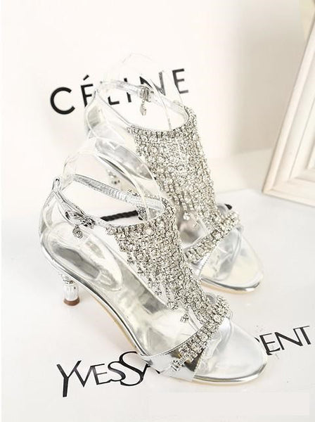 Sparkling High Heels Crystals Evening Party Shoes /  Sandals