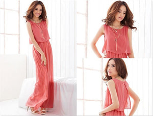 Bohemian High Waist Chiffon Solid Color Sleeveless Round Neck Ankle Length Semi Casual Dress
