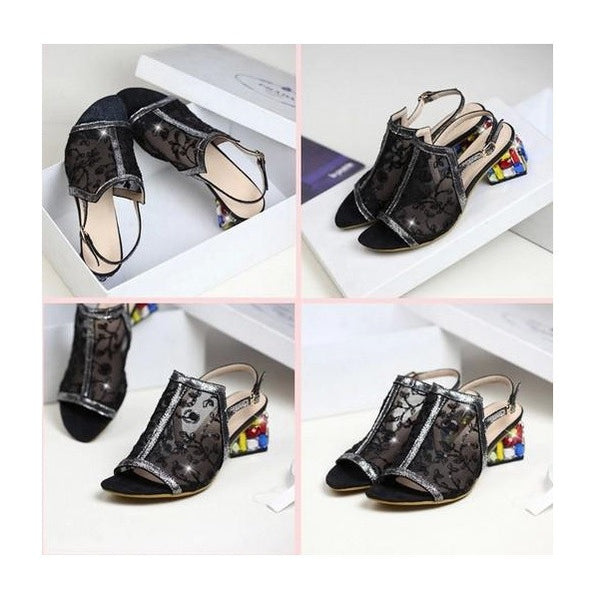 New Real leather cross stitch bud crafted silk mid heel thick heel sandals  (Black)
