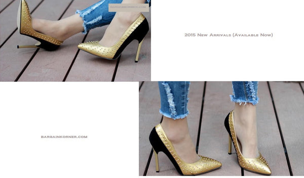 New characteristics Shallow pointed mouth  stiletto heels  rivet color matching dress shoes