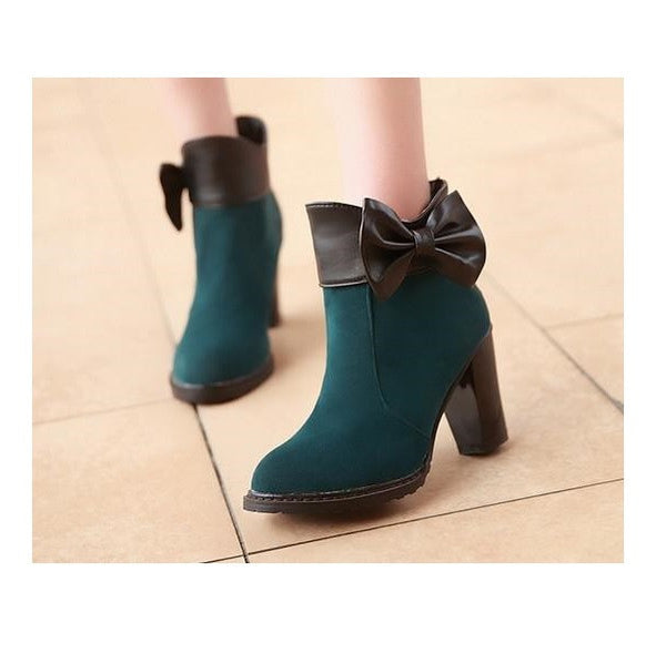 """Mod Series"" Leather Frost Surface Bow Adornment with High Heels Short Boots"