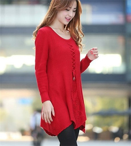 Loose Long Sleeve Round Collar Sweater Frenulum Knitted Mlddle