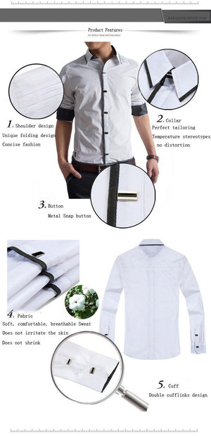 Premium Quality 100% Cotton Men Slim Fit Long Sleeve Dress Shirts