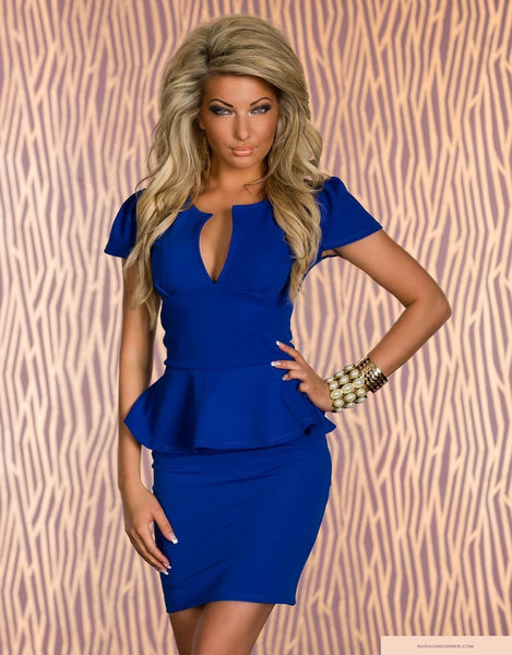 """Trendy Series"" Nicole Blue Strapless Padded Elegant Party Evening Dress"