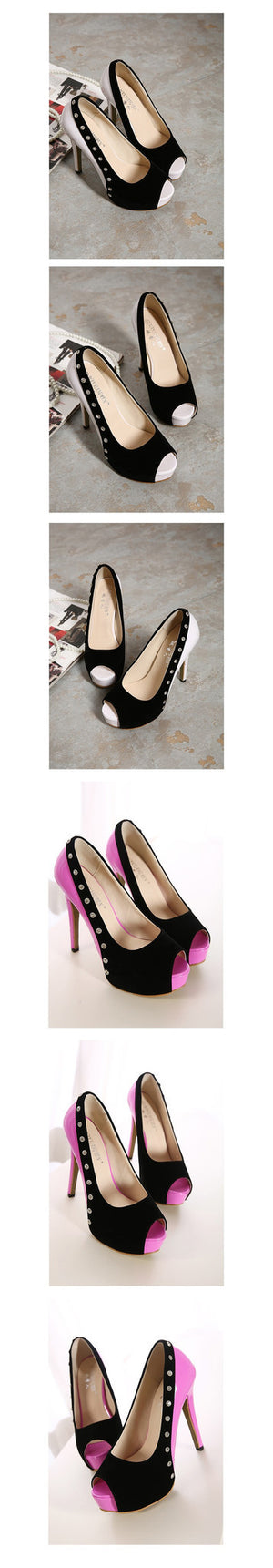 Pink Rhinestone Stiletto Heel Peep Toe High Heels Platform Pumps Dress Shoes