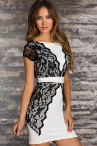 High quality sheath Elegant Cocktail Mini Dress with Lace Trim (New Arrival)